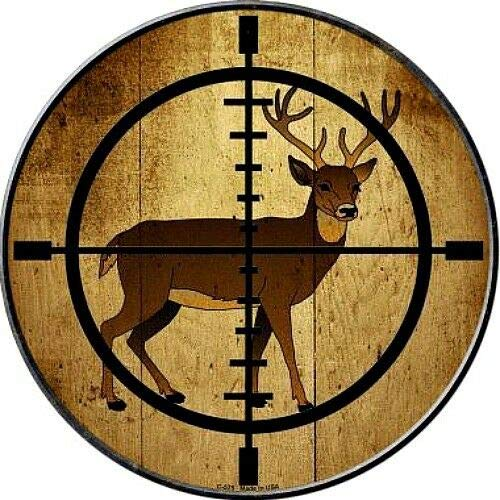Deer in Scope Crosshairs 12' Round Metal Sign Hunter Target Hunting Home Decor