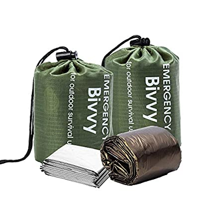 BesWlz Emergency Sleeping Bags, Survival Bivvy Sack Lightweight,Waterproof Portable Mylar Survival Gear for Outdoor Camping Hiking,Emergency Shelter (2Pack) Green+ One Thermal Survival Blanket