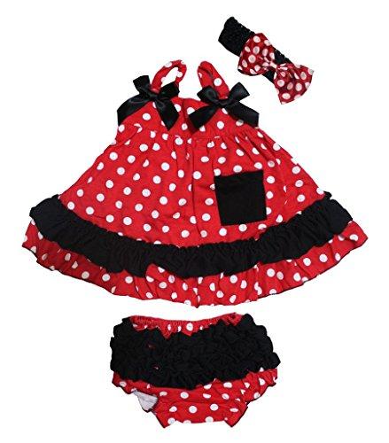 Petitebelle Blanc à pois Rouge Couvercle basculant Noir à volants bébé bloomer Nb-24 m - Rouge - M