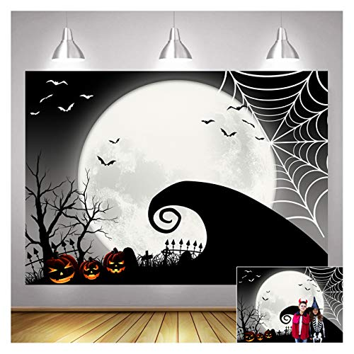 Happy Halloween Party Supplies The Nightmare Before Christmas Photography Backdrops 5x3ft Pumpkin Jack Bat Moon Halloween Scary Party Banner Newborn Baby Shower Photo Background Shoot Props Vinyl