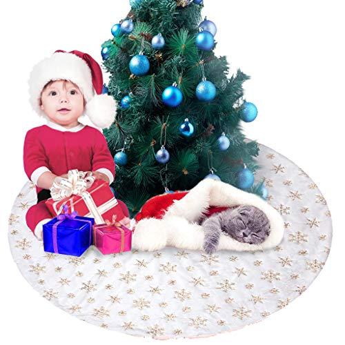 dee banna 48 Inch Weihnachtsbaum Röcke Wissen Plüsch mit goldenen Schneeflocke Pailletten, Kunstpelz Handgemachte weichen Baum-Rock-Dekorationen für Weihnachtsfeiertags Party Dekor