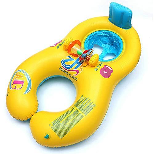 子供用 親子 浮き輪 ベビー浮き輪 スイミングリング 2人用 浮輪 水遊び 水泳プール 水泳用品 st1036 (イエロー)