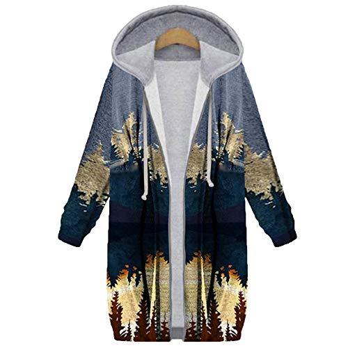 Auifor Damen Parka Winterjacke,Hooded Overcoat Vintage Modisch Mantel Elegant Plüschmantel Winter Dicker Jacke Warme Winterjacke Mit Kapuze Lässig Pelzmantel Felljacke(Grün,XX-Large)
