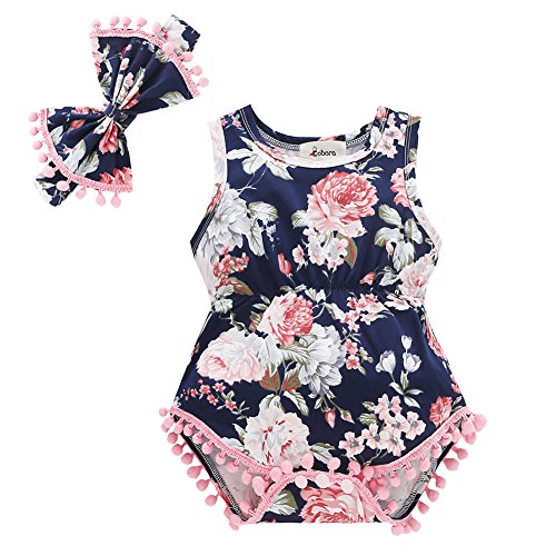 Baby Girl Clothes, Bobora Adorable Romper Flower Printed Well Made Summer Outfits Set Fashionable Blue Romper with Matching Headband(6M/M, Blue-Flower A)