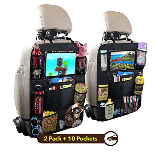 "HOUSE DAY Car Backseat Organizer, Car Seat Back Protectors Kick Mats with 10"" Touch Screen Tablet Holder, 9 Storage Pockets for Kids Toy Bottle Drink Vehicles Travel Accessories (2 Packs)"