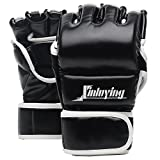 Xinluying MMA Gloves Martial Arts Grappling Sparring Punch Bag UFC Boxing Training Half Mitts for Men Women Medium