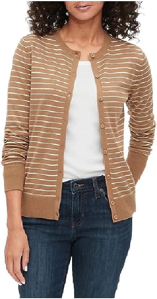 Gap Crewneck Cardigan Sweater for Women, 100% Cotton Camel Stripe