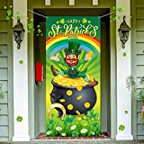Happy St. Patrick's Day Door Cover, Lucky Green Shamrocks Spring Rainbow Backdrop Hat Leprechaun Gold Coin Pot Background Banner for Irish Holiday Party Decoration Supplies