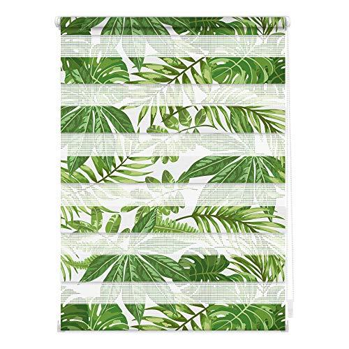 Lichtblick DRD.070.150.397 Duo Rollo Klemmfix, ohne Bohren, Blickdicht, Blätter - Grün 70 cm x 150 cm (B x L)