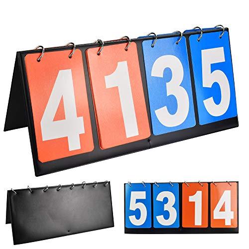 KLYNGTSK Score Boards - Marcador deportivo plegable y ligero, portátil, para fútbol, voleibol, baloncesto, tenis de mesa (4 dígitos, rojo y azul)