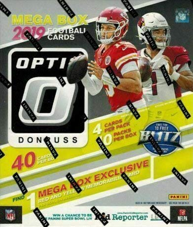 2019 Panini Donruss Optic NFL Football MEGA box (10 pks/bx, ONE Memorabilia card)