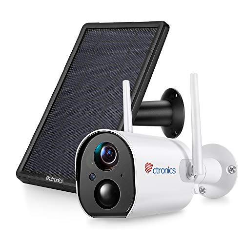 1080P Telecamera Wifi Esterno con Pannello Solare, Ctronics Videocamera di Sicurezza IP Senza Fili con PIR Rilevazione Umana, Audio Bidirezionale, 10400mAh Batteria Ricaricabile, Impermeabile IP66