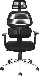 FurniterR 高靠背家庭办公椅高度可调节旋转头枕扶手,带 PU 垫