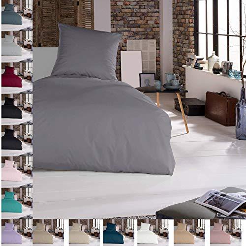Bettwäsche Bettgarnitur Bettbezug 2 teilig 135 x 200 cm Silber 100prozent Baumwolle