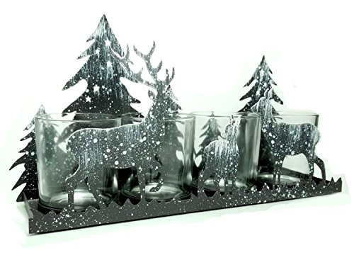 Rustic Candle Holder - Deer Silhouette Candle-Holder - Antique Grey with White 'Snow' Deer and Evergreen Trees - Glass Votive Holder with Metal Forest Cutouts