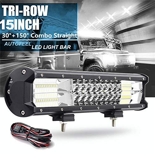 Willpower - Barra de luces LED de 216 W, 15 pulgadas, combinación de inundación puntual, barra de luces LED, niebla, conducción, conducción, trabajo, luces con arnés de cableado para ATV, SUV, barco