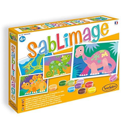 Sentosphere 3900895 Sablimage Sandbilder Bastelset für Kinder, Motiv Dinosaurier, Kreativset, DIY