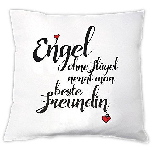 4you Design Kissen Engel ohne Flügel nennt Man Beste Freundin, Zierkissen, Dekokissen, Geschenkidee, Geburtstag, Beste Freundin, Weihnachten