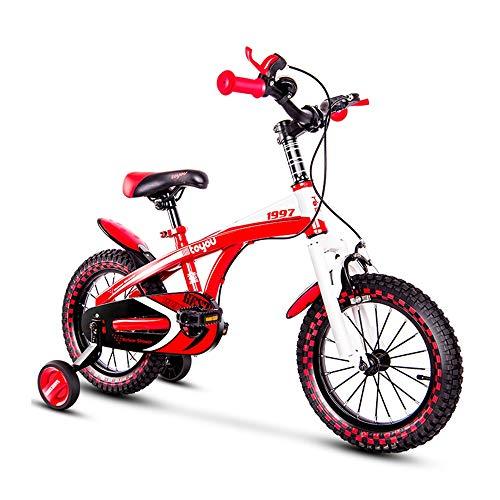 Axdwfd Kids Bike Kids Fiets, 14/16/18 Inch Met Schijfrem Training Wielen Eenvoudige montage Lichtgewicht Verstelbare Zitgreep Voor 3-8 Jaar Ouden