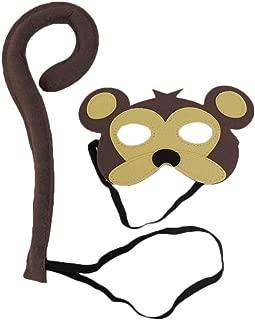 Children's Deluxe Monkey Mask & Tail Costume Set