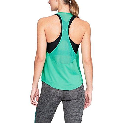 Under Armour Hg Camiseta de tirantes con espalda de malla para mujer, Mujer, Depósito, 1316124-349, Malaquita verde/Plata metálica, large