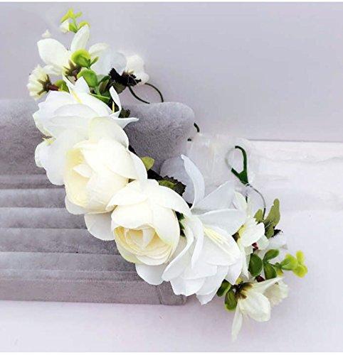 ZGP Couronne de Coiffure Couronne de Fleurs, Bandeau Fleur Garland Fête de Mariée à la Main à la Main Fait Bande Bandeau Bracelet Bande de Cheveux (Couleur : E)