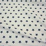 Stoff Baumwollstoff Baumwolle Sterne weiß marine groß