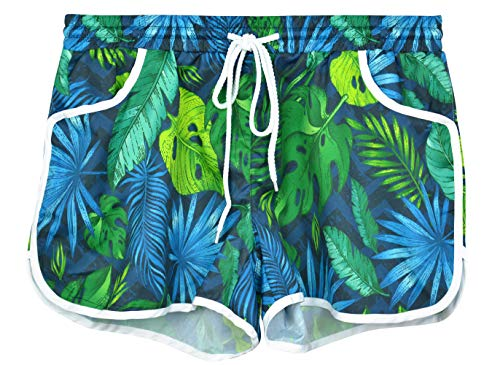 Floral Swim Shorts for Women Printed Summer Hawaiian Tropical Boardshorts Beach Shorts Leaf M