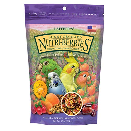 LAFEBER'S Sunny Orchard Nutri-Berries Pet Bird Food, Made with Non-GMO and Human-Grade Ingredients, for Cockatiels Conures Parakeets (Budgies) Lovebirds, 10 oz