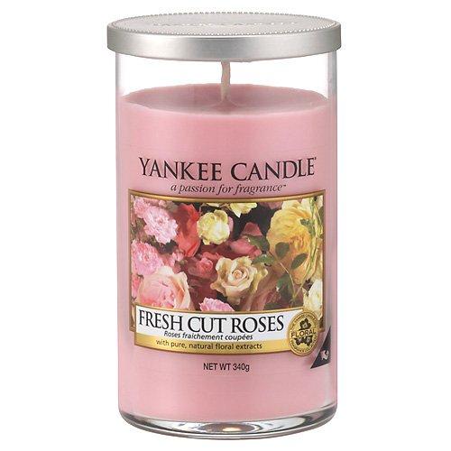 "Yankee Candle ""Fresh Cut Roses"" Pillar Candle, Rosado, Medium"