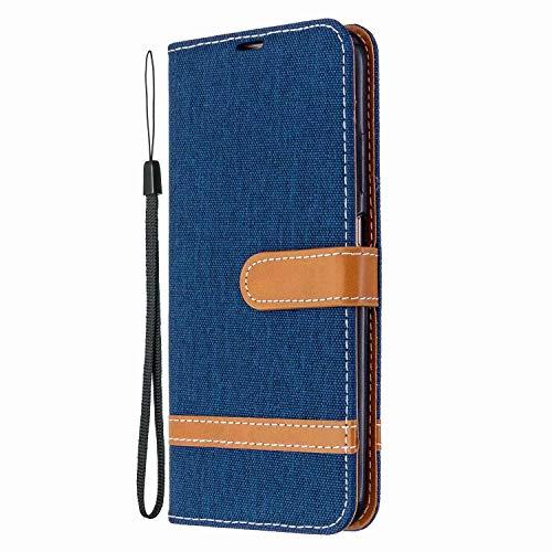 Funda para iPhone 13, absorción de golpes, funda de piel vaquera, con soporte magnético, funda protectora para iPhone 13, color azul marino