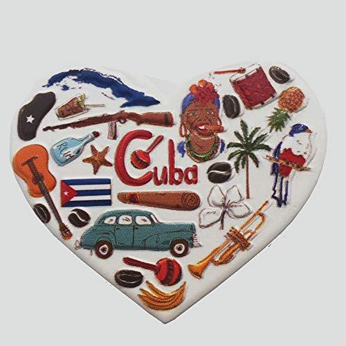Imán para nevera con forma de corazón en 3D, recuerdo de Cuba, decoración para el hogar y la cocina