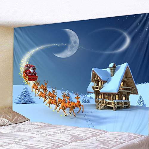 ZSYNB Wandtapijt, schattige cartoon sterren, kerstversiering, slee, volmaan en mandala, wandtapijt, wandbehang No frame 150 x 150 cm.