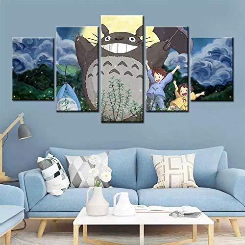 SINGLEAART Impressions sur Toile,5 Tableau Peinture,Décoration Maison Moderne,Modulaire Panneaux Motif Tableau,Cadeau d'anniversaire,Et Le Voisin Totoro,Hayao Miyazaki Anime,100Cm×50Cm,avec Cadre