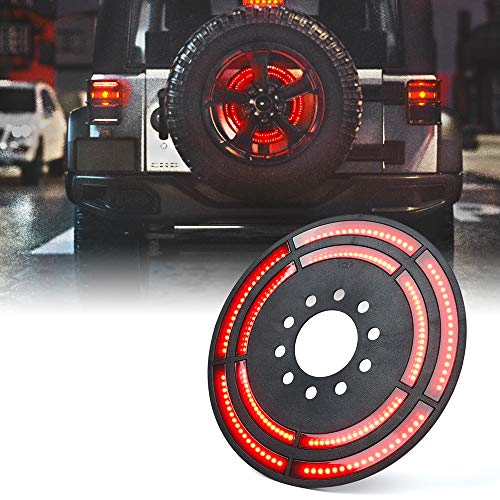 Xprite 14' Spare Tire Brake Light, 3rd LED Rear Wheel Lights Third Tail Lamp for 2007-2018 Jeep Wrangler JK & 2018+ Jeep Wrangler JL/JLU