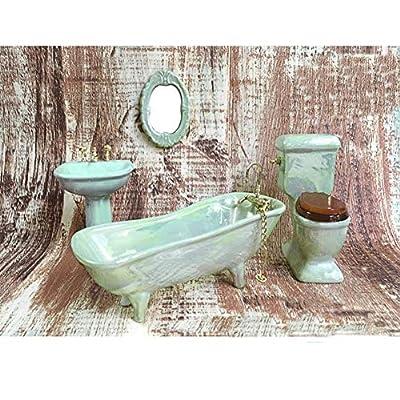 BESTLEE Dollhouse Furniture Miniature Bathroom Accessories Set 4PCS-1:12 Scale (Light Green)