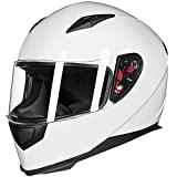 ILM Full Face Motorcycle Street Bike Helmet with Removable Winter Neck Scarf + 2 Visors DOT (L, White)