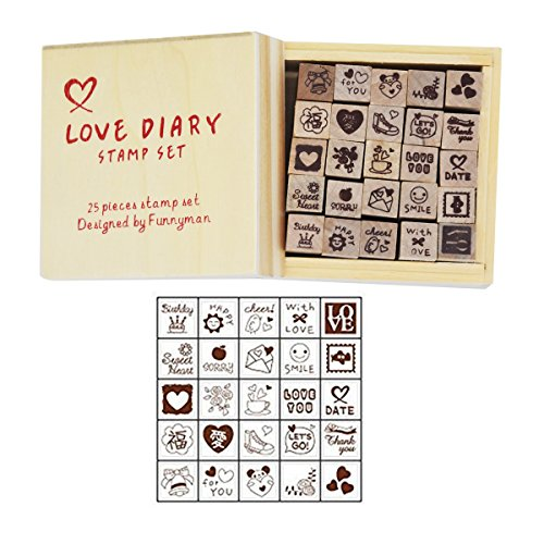 Wooden Rubber Stamps,Youkwer 25 Pcs Mini Cute DIY Diary Stamps Set with Wooden Box (25PCS,Love Diary)