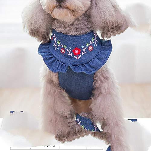 RUIBOER Puppy Hond Leash Hond Donker Blauw Denim Vest Borstriem Kleine Hond Kat Huisdier benodigdheden M