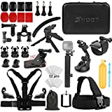 SHOOT Must Have Accessories Kit with Monopod for OSMO Action Camera GoPro Hero 9 8 HERO7 Black Silver White/6/5/4/3+/3/5 Session/Hero(2018)/Fusion Campark AKASO DBPOWER Crosstour Camera
