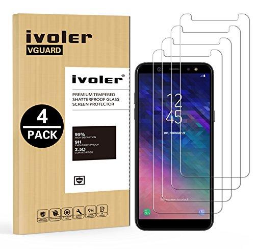 ivoler [4 Unidades] Protector de Pantalla Compatible con Samsung Galaxy A6 2018, Cristal Vidrio Templado Premium [Dureza 9H] [Anti-Arañazos] [Sin Burbujas]