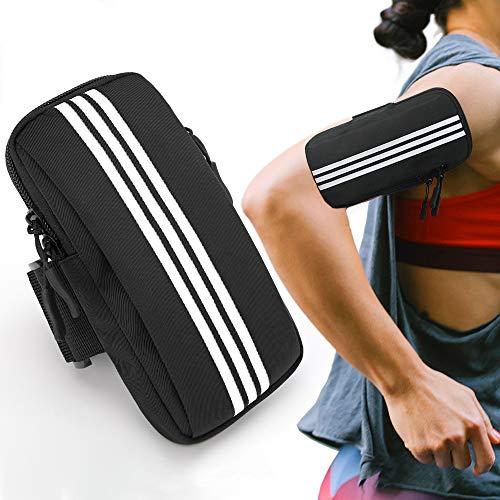 Jiaer Sentai Joggen Armband Armtasche, Handy Sportarmband Armband, Doppel Reißverschluss Handytasche Laufen für iPhone 12 Pro Max, Galaxy S20 Ultra S10, Huawei P30 P20 Mate 20, Bis zu 7.0