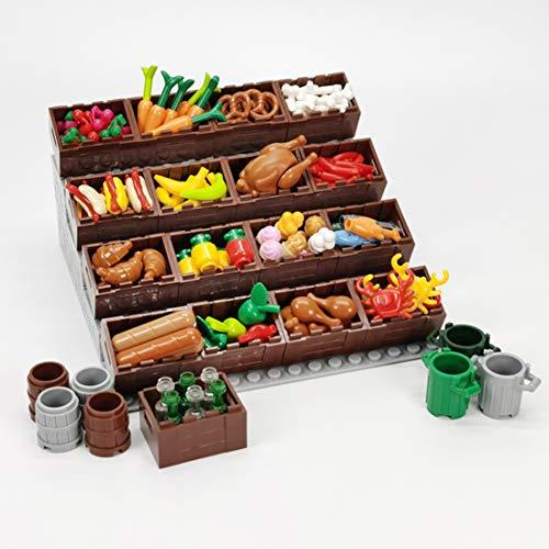 12che DIY Spielzeug Ausstellungsstand Vitrine mit Essen für Lego Minifiguren