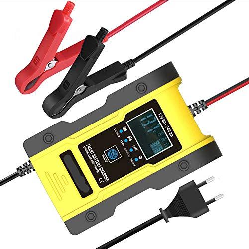 CUIJU Cargador de baterías de Plomo de 12 V/24 V Cargador de batería automático Inteligente para automóvil, Cargador de batería de 7 etapas con Pantalla LCD (Amarillo)