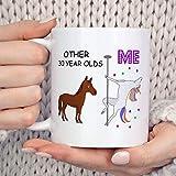N\A Taza de café Personalizada con texto-30th Birthday Coffee Mug, Best Friend 30th Birthday Gift for Her Unicorn Mug, Hello Thirty Dirty Thirty Dirty 30 Trigésimo cumpleaños nini Mamaw Kid