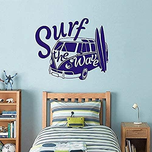 Etiqueta de la pared PVC removible etiqueta de la pared azulejos de surf ondulados con autocaravana Vintage Camper 57x67cm