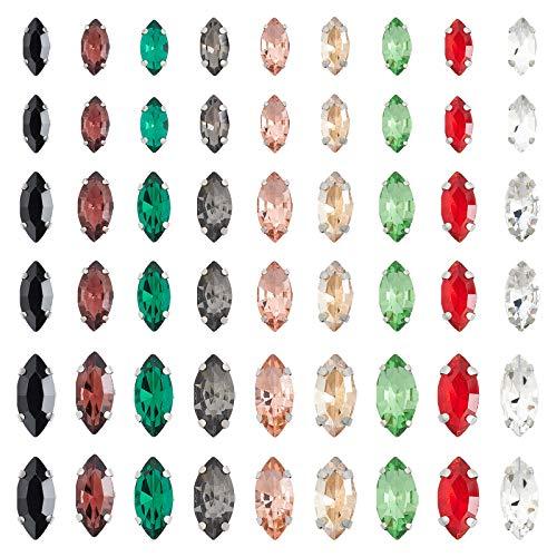 OLYCRAFT 150 Pieza Coser En Diamantes de Imitación Ojo de Caballo Cristal para Coser con Puntas Chapadas En Platino Accesorios para Tazas Accesorios para Prendas de Vestir Diamantes