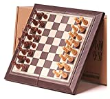 Juego de ajedrez de ajedrez de ajedrez de Madera Plegable Tablero magnético con Conjunto de ajedrez Plegable portátil (Size : 30.5x30cm)