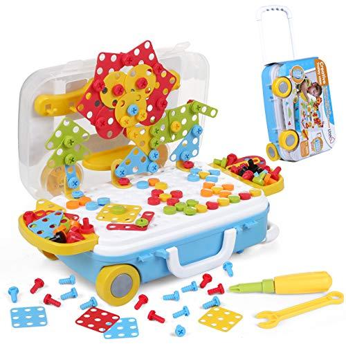 LIHAO 229 Piezas Juguetes Construcción Puzzles 3D Mosaicos para Niños Juguetes Montessori - Juguete de Tornillo Rompecabezas Infantiles, Pack Juego de Mosaicos Paquqte Maletero Portátil