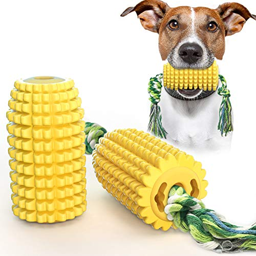 USWT Dog Toy Puppy Toys Dogs Supplies, Interactive Doggy Dental Chew Toothbrush with Rope, Food Dispenser for Small Medium Large Chewers, Durable Corn-Shaped Molar Stick with Teeth Cleaning Function